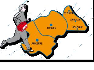 Zône d'intervention : Aube et Haute-Marn (Grand Est), Yonne (Bourgogne) ; Troyes, Auxerre, Sens et Saint-Dizier